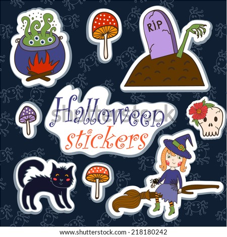 set of illustrations for Halloween. brightest witch cauldron witch with potion, cat, zombie. vector - stock vector