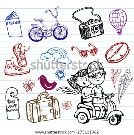 Set of illustrations for summer travel - stock vector