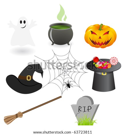 Set of illustrations on a Halloween theme. Vector illustration, isolated on a white. - stock vector