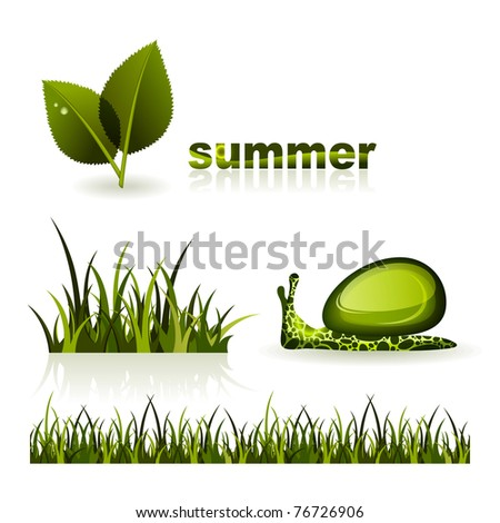 Set of illustrations on theme of summer - stock vector