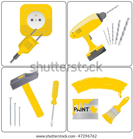 Set of illustrations related to household repair and tool work - stock vector