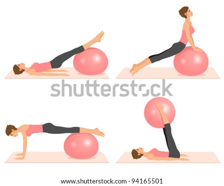 set of illustrations showing pilates exercises with a ball - stock vector