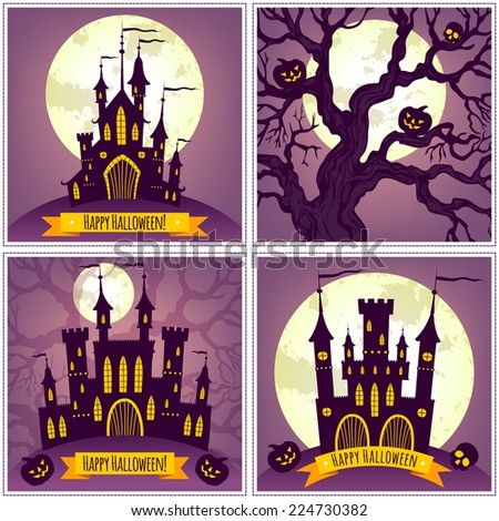 Set of illustrations. Template cards. Happy Halloween! - stock vector