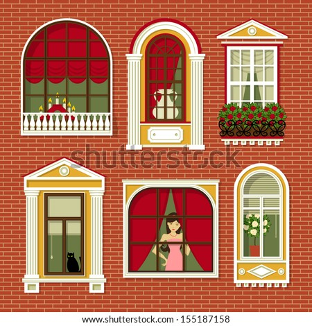 Set illustrations vintage windows stock vector 155187158 for Window design cartoon