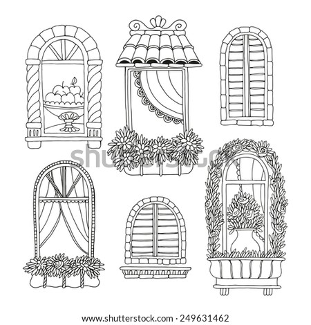 vintage window drawing. set of illustrations with a vintage windows window drawing