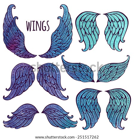 Set of illustrations with angel wings. Watercolor and contour. - stock vector
