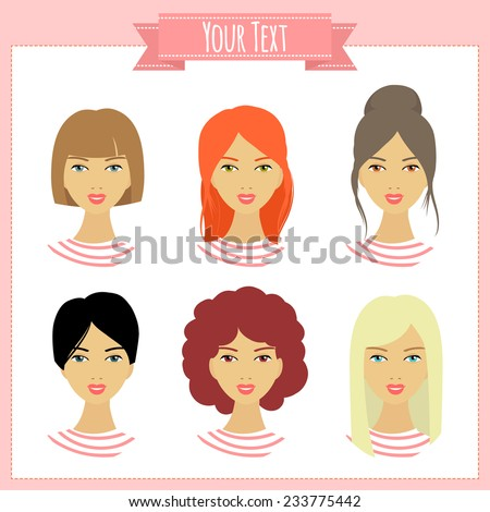 Set of illustrations with girls. Avatars. - stock vector