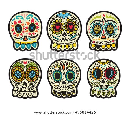 Set of illustrations with skulls. Mexican day of the dead. Freehand drawing. Colorful set