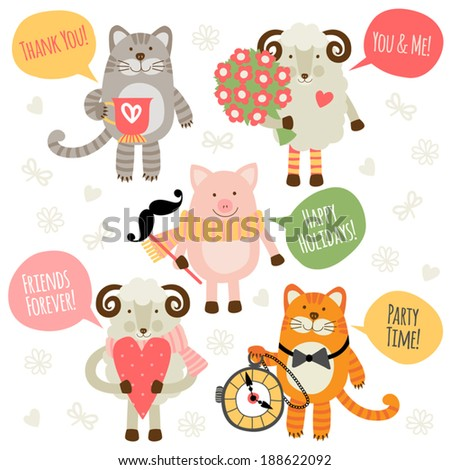 Set of illustrations with traditional greetings. Sheep, cat and pig.