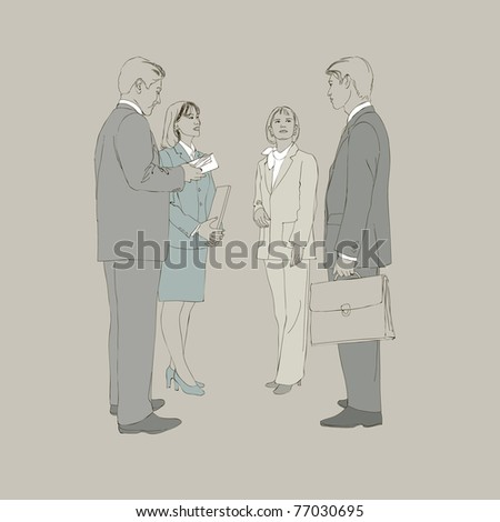 Set of image with business people - stock vector