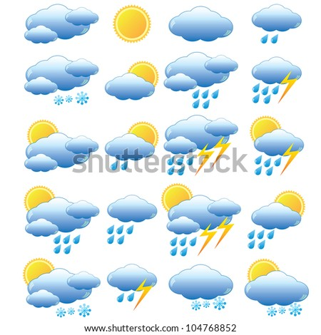 Set of images for meteorology on the white background. - stock vector