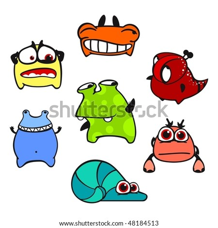 Set of images of amusing multi-coloured unknown animals #5 - stock vector