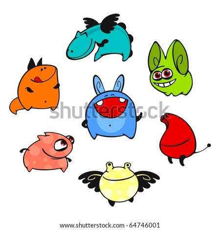 Set of images of amusing multi-coloured unknown animals #8 - stock vector