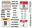Set of images of calendars on the white background. - stock photo