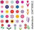 Set of 33 images of different multicolor flowers - stock vector