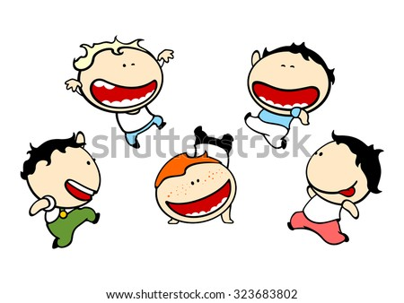 Set of images of funny kids #79, mischief theme - stock vector
