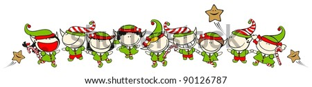 Set of images of funny kids on a white background #60, Christmas elves theme - stock vector