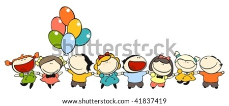 set of images of funny kids on a white background #5, friendship theme - stock vector
