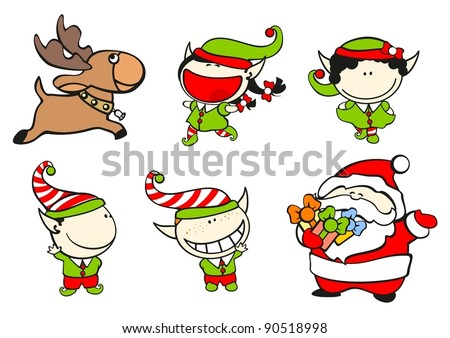 Set of images of funny kids on a white background #61, Santa Claus and his team - stock vector