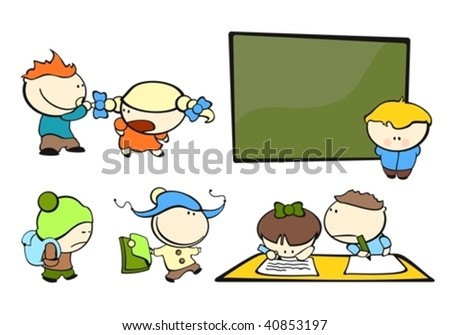 set of images of funny kids on a white background #4, school theme