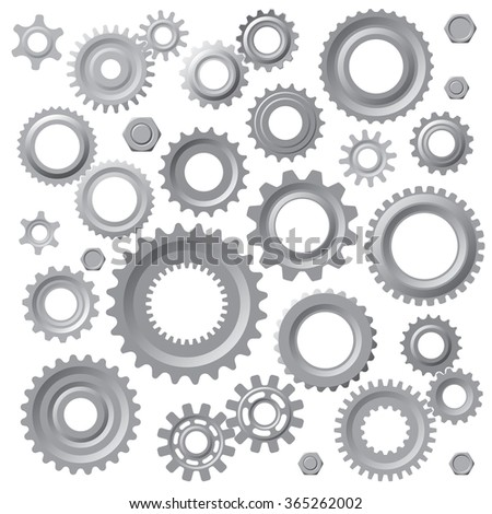 Set of Images of gears. Vector illustration - stock vector