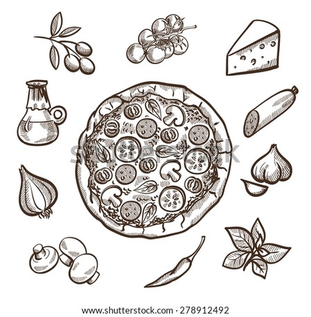 Set of images with pizza in the center and ingredients for pizza around - stock vector