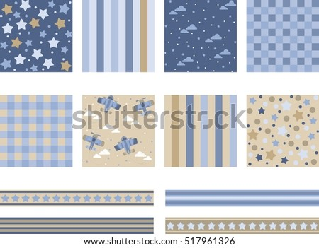 Set of images with the planes, backgrounds for design, flat style cartoon,  vector illustration