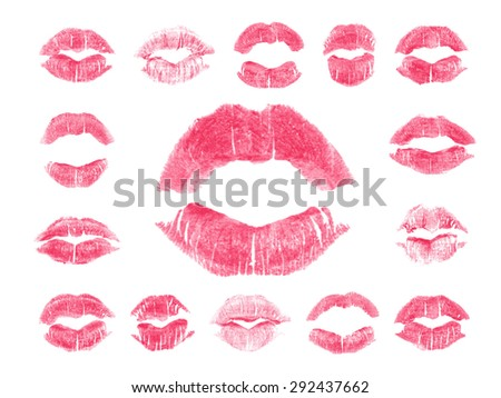 Set of 15 imprint of pink lipstick. Silhouettes of light pink lips isolated on white background. Qualitative trace of real lipstick texture. Can be used as a decorative element for print or design. - stock vector