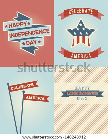 Set of Independence Day Vector Designs - stock vector