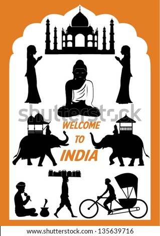 Set of India icons, vector - stock vector