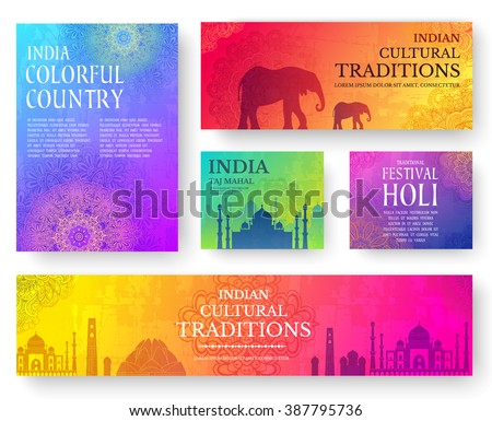Set of Indian country ornament illustration concept. Art traditional, poster, book, poster, abstract, ottoman motifs, element. Vector decorative ethnic greeting card or invitation design background. - stock vector
