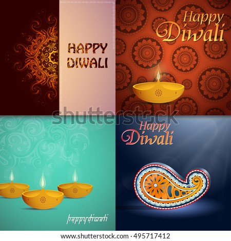 Set indian festival diwali greeting cards stock vector 495717412 set of indian festival diwali greeting cards m4hsunfo