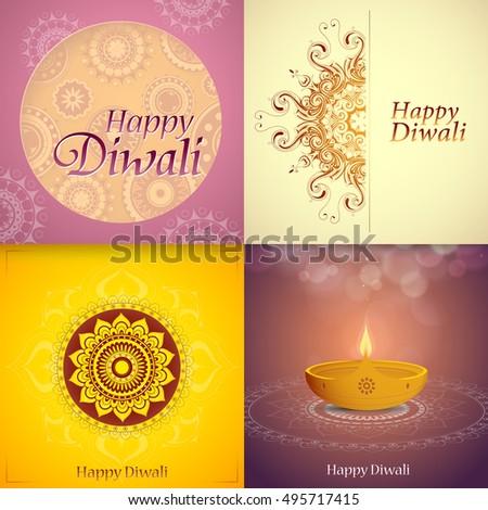 Set indian festival diwali greeting cards stock vector 495717415 set of indian festival diwali greeting cards m4hsunfo