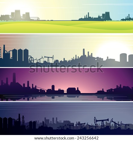 Set of Industrial Backgrounds for Web Banner. Vector Templates Ready for Your Text and Design - stock vector