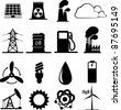 Set of industrial icons - stock photo