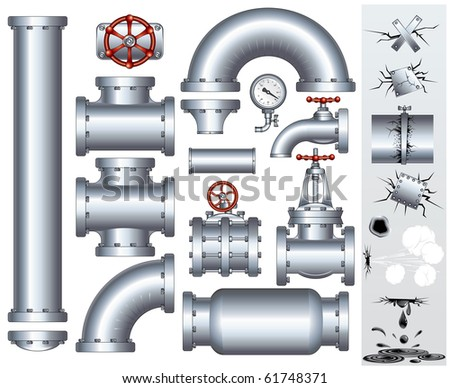 Set of industrial pipeline parts with set of various damaged elements. Vector gas or fuel pipe, faucet, valve, connector, shaft, wheel, fitting, gate etc... - stock vector