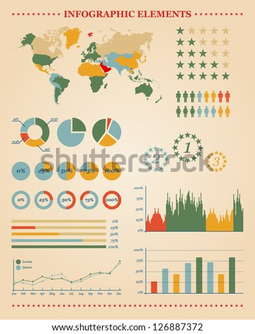 Set of info graphic elements for your reports and documents - stock vector