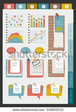 Set of infographic collection. Color web page or blog elements, folder, color paper stickers, cardboard, text messages, graphs and notices.  - stock vector