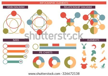 Set Infographic Elements Including Venn Relationship Stock Vector