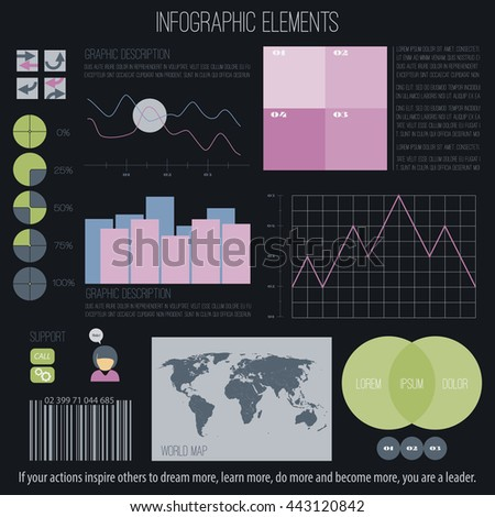 set of infographic elements isolated on white background. vector timeline, option graph, bar code symbol. pie chart info graphic icons. financial statistic and growth report presentation banner - stock vector