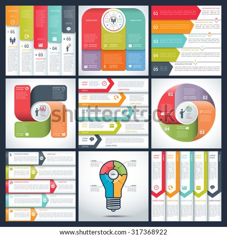 Set of infographic templates. Vector arrow and circle numbered banners. Can be used for cycle diagram, graph, round chart, report, workflow layout, number and step options, web design  - stock vector