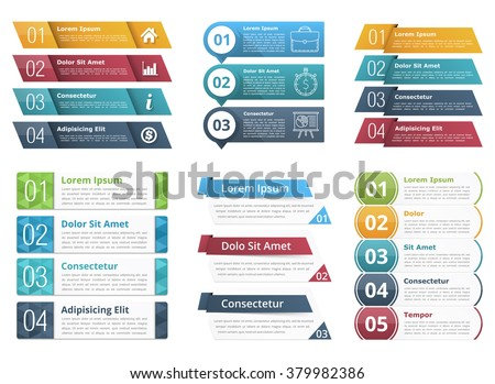 Set of infographic templates with numbers and text, business infographics elements set, vector eps10 illustration - stock vector
