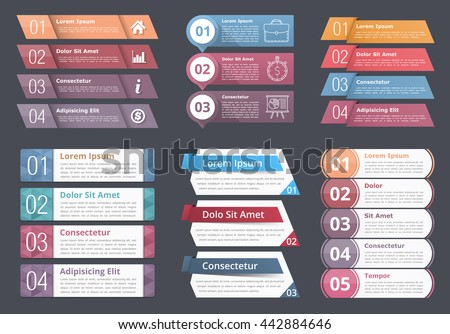 Set of infographic templates with numbers and text, process, flow chart design elements, business infographics, vector eps10 illustration - stock vector