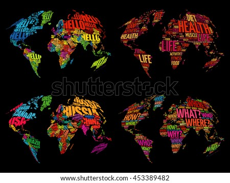 Set of Infographic World Word Cloud Maps in Typography, Health, Hello, Question and World Map with names of countries