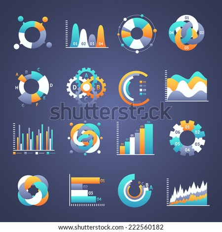 Set of  infographics charts and diagrams for your design. Vector illustration