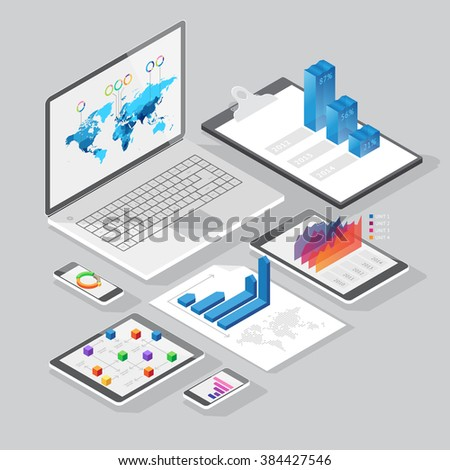 Set of infographics design elements on stationery and computer devices. Isometric style. Vector illustration.