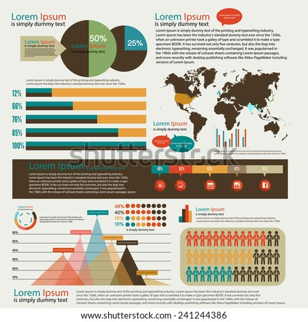 set of infographics elements. Earth tone