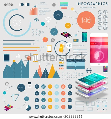 Set of Infographics Elements, Flat Style and Line Icons. Mobile Phone and Tablet PC Templates. Mobile Technology Concept. Diagrams and Charts for Business Design. - stock vector