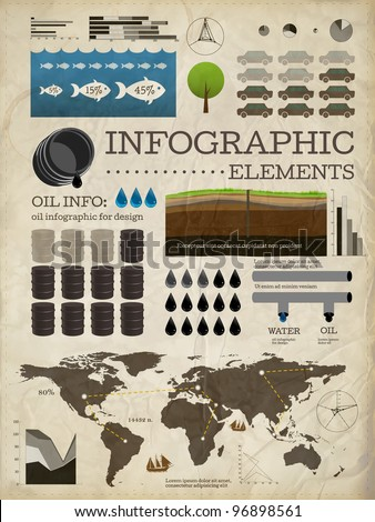 Set of infographics elements | Old paper texture | Vintage style design | Oil icons - stock vector