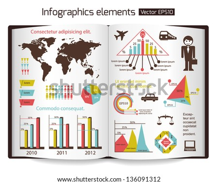 Set of infographics elements. Open book background. Vector illustration. - stock vector